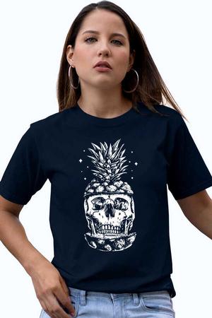 - Ananas Kafa Kısa Kollu Lacivert Kadın T-shirt