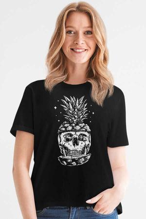 - Ananas Kafa Kısa Kollu Siyah Kadın T-shirt