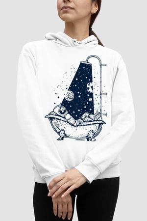 Rock & Roll - Astro Duş Beyaz Kapşonlu Kadın Sweatshirt