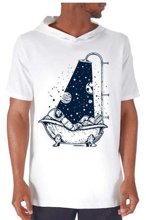 Rock & Roll - Astro Duş Beyaz Kapşonlu Kısa Kollu Erkek T-shirt