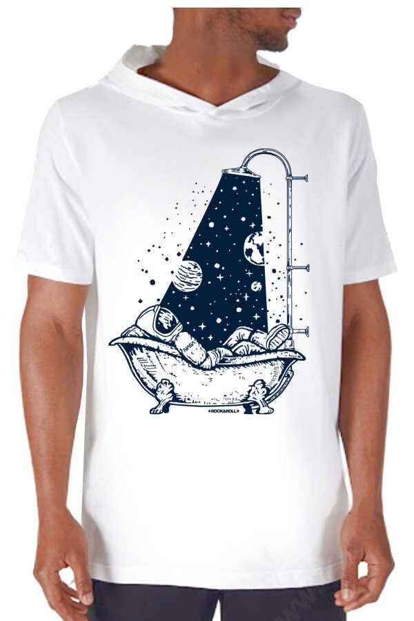 Astro Duş Beyaz Kapşonlu Kısa Kollu Erkek T-shirt