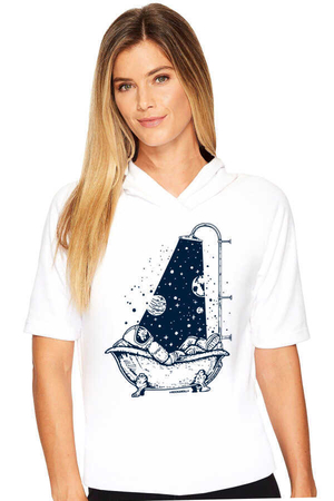 Rock & Roll - Astro Duş Beyaz Kapşonlu Kısa Kollu Kadın T-shirt
