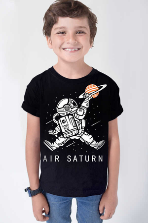 Rock & Roll - Astro Smaç Kısa Kollu Siyah Çocuk T-shirt