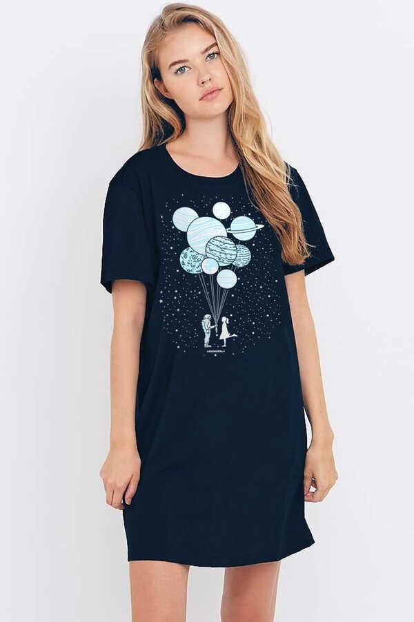 Balon Gezegenler Kısa Kollu Penye Kadın | Bayan Lacivert T-shirt Elbise