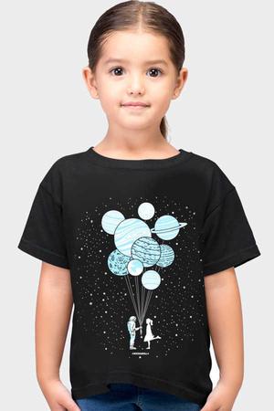 Rock & Roll - Balon Gezegenler Kısa Kollu Siyah Çocuk Tişört