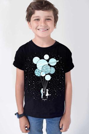 Balon Gezegenler Kısa Kollu Siyah Çocuk Tişört - Thumbnail