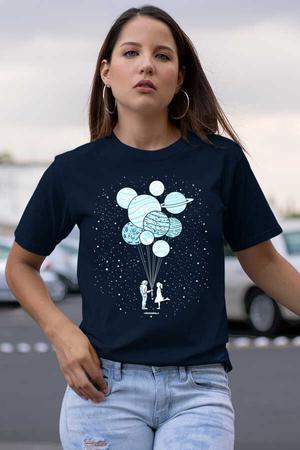 Rock & Roll - Balon Gezegenler Lacivert Kısa Kollu Kadın T-shirt