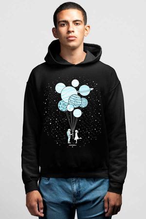 Rock & Roll - Balon Gezegenler Siyah Kapşonlu Erkek Sweatshirt