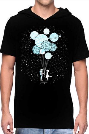 Rock & Roll - Balon Gezegenler Siyah Kapşonlu Kısa Kollu Erkek T-shirt