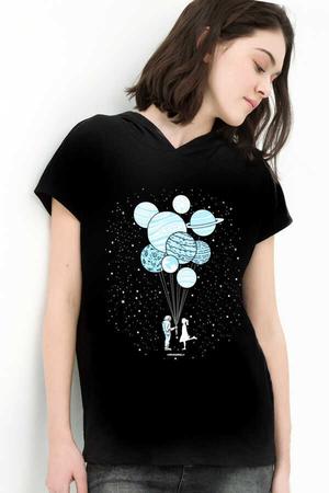 Rock & Roll - Balon Gezegenler Siyah Kapşonlu Kısa Kollu Kadın T-shirt