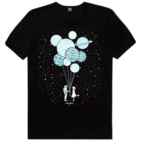 Rock & Roll - Balon Gezegenler Kısa Kollu Siyah T-shirt