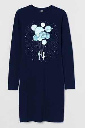 - Balon Gezegenler Uzun Kollu Kadın | Bayan Lacivert Penye T-shirt Elbise