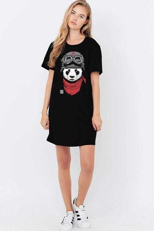 Rock & Roll - Bandanalı Panda Kısa Kollu Penye Kadın   Bayan Siyah T-shirt Elbise
