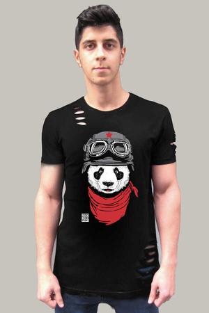 Rock & Roll - Bandanalı Panda Kısa Kollu Yırtık Ripped Siyah T-shirt