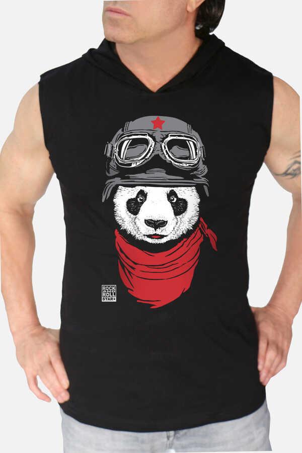Bandanalı Panda Siyah Kapşonlu Kesik Kol | Kolsuz Erkek T-shirt