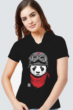 Rock & Roll - Bandanalı Panda Siyah Kapşonlu Kısa Kollu Kadın T-shirt