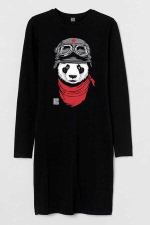 - Bandanalı Panda Uzun Kollu Kadın | Bayan Siyah Penye Siyah T-shirt Elbise