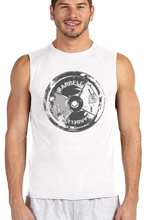 Rock & Roll - Barbell 45 Beyaz Kesik Kol | Kolsuz Erkek T-shirt | Atlet