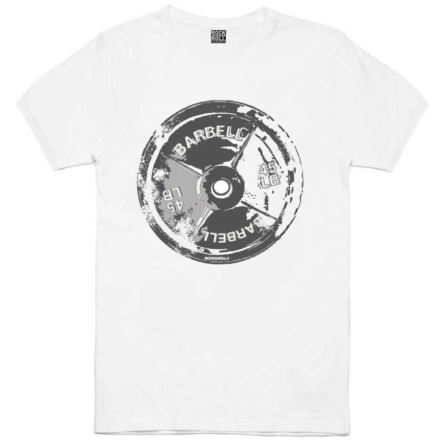 Barbell 45 Beyaz Kısa Kollu Erkek T-shirt