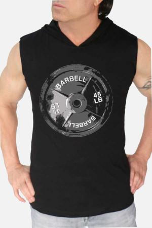 - Barbell 45 Siyah Kapşonlu Kesik Kol | Kolsuz Erkek T-shirt