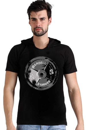 Rock & Roll - Barbell 45 Siyah Kapşonlu Kısa Kollu Erkek T-shirt