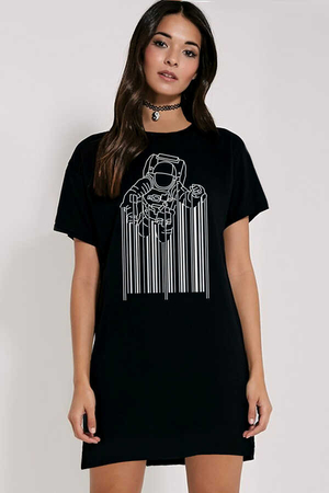 Rock & Roll - Barkod Astro Kısa Kollu Penye Kadın | Bayan Siyah T-shirt Elbise
