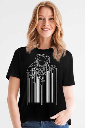 Rock & Roll - Barkod Astro Siyah Kısa Kollu Kadın T-shirt