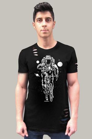 Rock & Roll - Bisikletli Astronot Kısa Kollu Yırtık Ripped Siyah T-shirt
