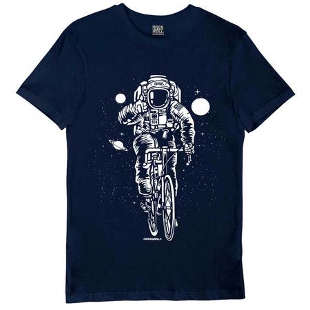 Rock & Roll - Bisikletli Astronot Lacivert Kısa Kollu Erkek T-shirt