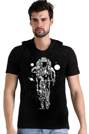 Rock & Roll - Bisikletli Astronot Siyah Kapşonlu Kısa Kollu Erkek T-shirt