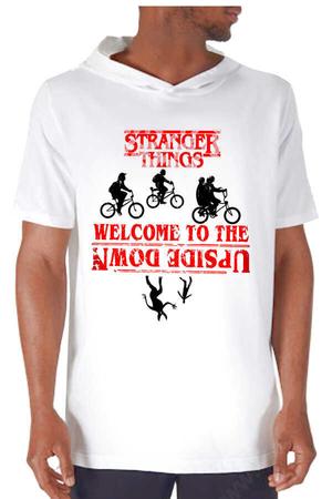 Rock & Roll - Bisikletli Stranger Things Beyaz Kapşonlu Kısa Kollu Erkek T-shirt