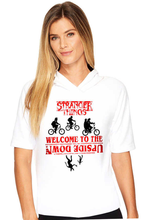 Rock & Roll - Bisikletli Stranger Things Beyaz Kapşonlu Kısa Kollu Kadın T-shirt