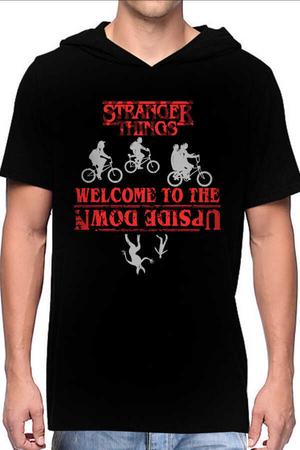 Rock & Roll - Bisikletli Stranger Things Siyah Kapşonlu Kısa Kollu Erkek T-shirt