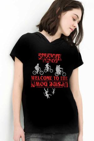 Rock & Roll - Bisikletli Stranger Things Siyah Kapşonlu Kısa Kollu Kadın T-shirt