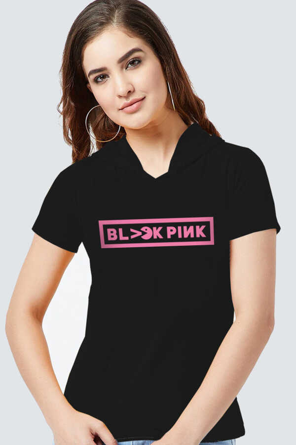 Blackpink Pac Siyah Kapşonlu Kısa Kollu Kadın T-shirt