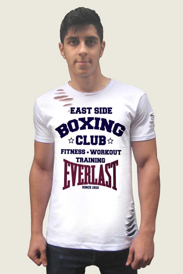 Boks Kulübü Kısa Kollu Yırtık Ripped Beyaz T-shirt