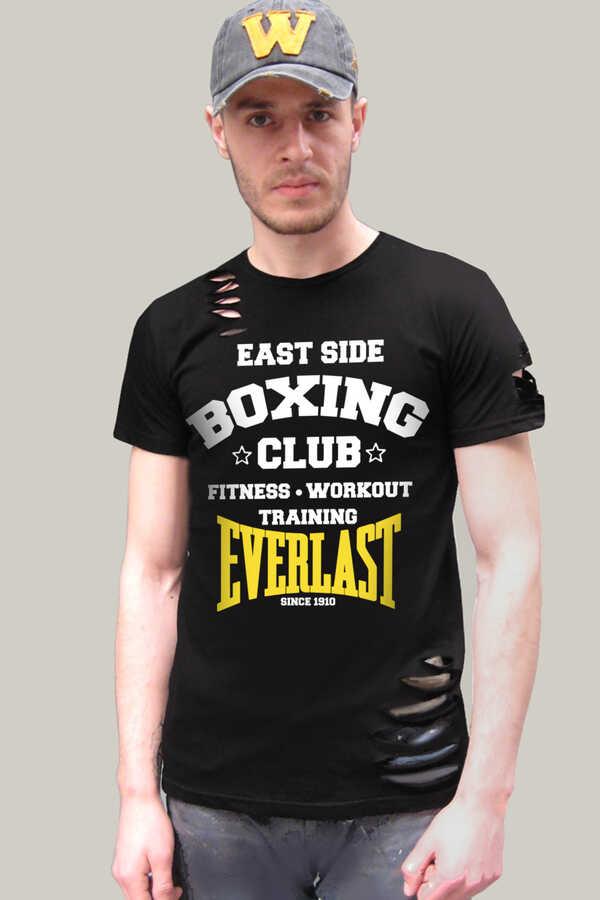 Boks Kulübü Kısa Kollu Yırtık Ripped Siyah T-shirt