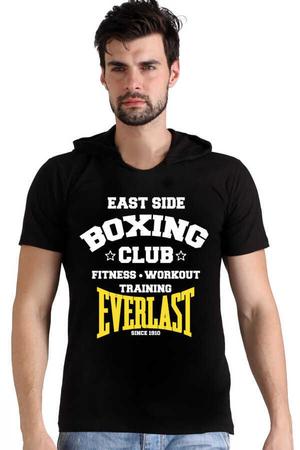 Rock & Roll - Boks Kulübü Siyah Kapşonlu Kısa Kollu Erkek T-shirt