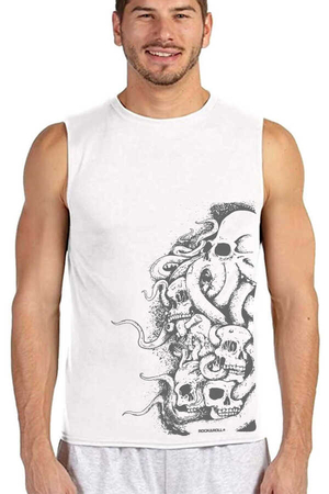 Rock & Roll - Büyük Ahtapot Beyaz Kesik Kol | Kolsuz Erkek T-shirt | Atlet