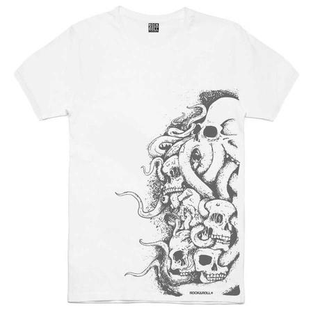Rock & Roll - Büyük Ahtapot Beyaz Kısa Kollu Erkek T-shirt