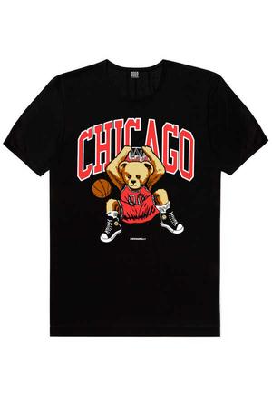 - Chicago Basket Kısa Kollu Siyah Erkek T-shirt