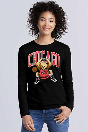 - Chicago Basket Siyah Bisiklet Yaka Uzun Kollu Penye Kadın T-shirt