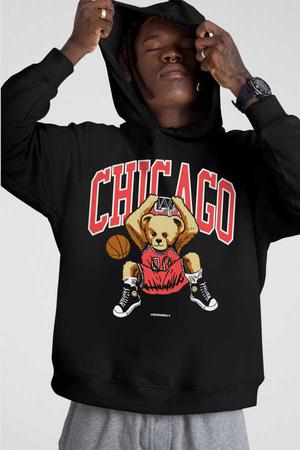 - Chicago Basket Siyah Kapüşonlu Kalın Erkek Sweatshirt