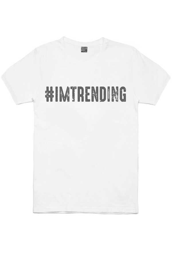 Çok Modayım Kısa Kollu Beyaz Erkek T-shirt