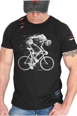 Rock & Roll - Daha Hızlı Kısa Kollu Yırtık Ripped Siyah T-shirt