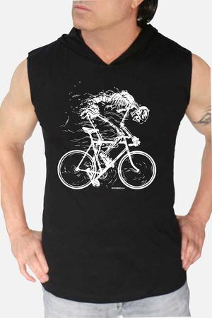 - Daha Hızlı Siyah Kapşonlu Kesik Kol   Kolsuz Erkek T-shirt   Atlet