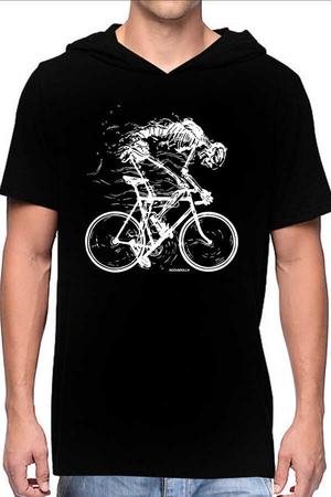 - Daha Hızlı Siyah Kapşonlu Kısa Kollu Erkek T-shirt