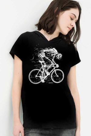 - Daha Hızlı Siyah Kapşonlu Kısa Kollu Kadın T-shirt
