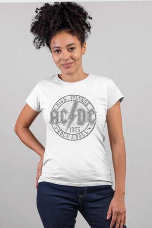 - Dairede ACDC Kısa Kollu Beyaz Kadın T-shirt