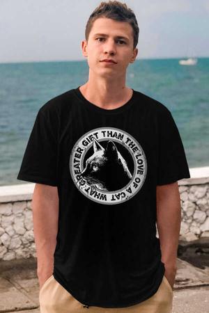Dairede Kedi Kafası Kısa Kollu Siyah Erkek T-shirt - Thumbnail